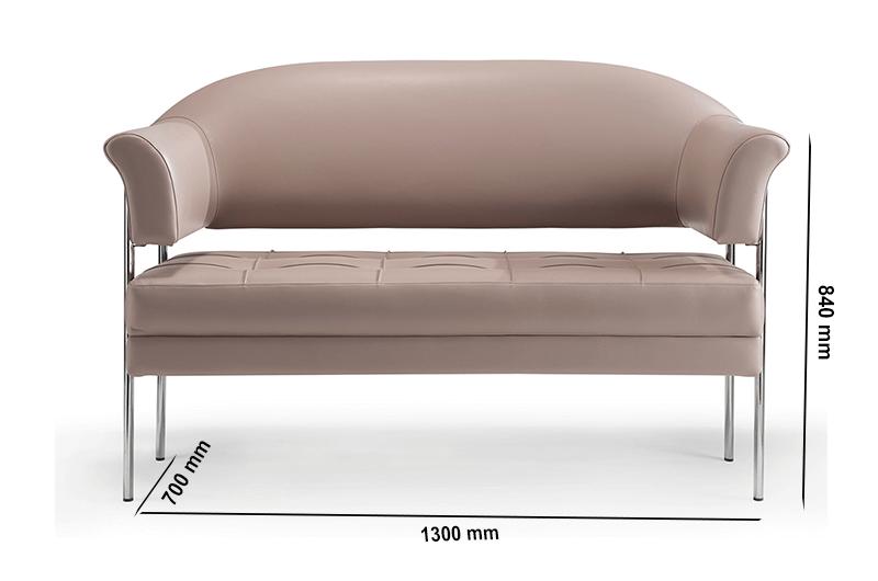 Size Carmella – Medium Back Two Seater Sofa With Chrome Frame