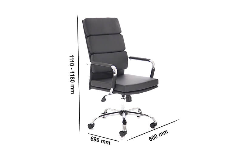Size Emerson – Black Bonded Leather Executive Task Chair With Armrest