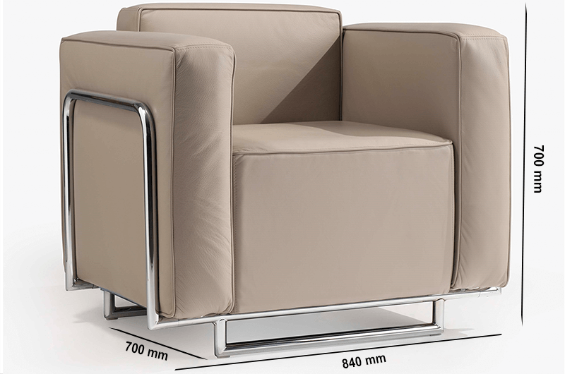 Size Emma – Low Back Armchair With Chrome Metal Frame