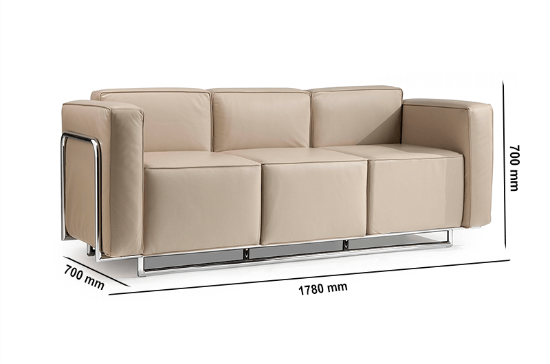 Size Emma – Low Back Three Seater Sofa With Chrome Metal Frame (1)