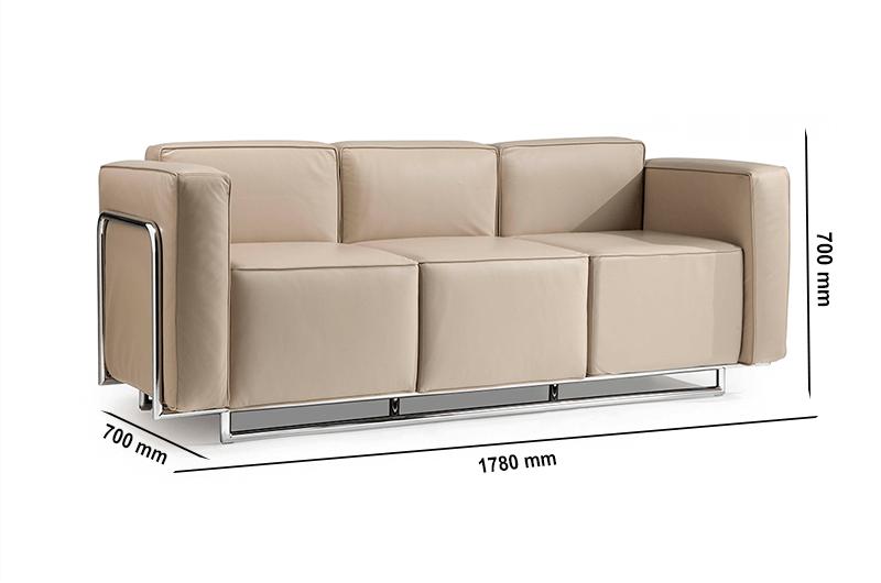Buy Emma Low Back Three Seater Sofa With Chrome Metal Frame Auraa Design