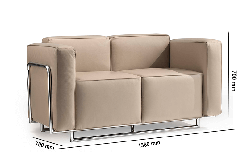 Size Emma – Low Back Three Seater Sofa With Chrome Metal Frame