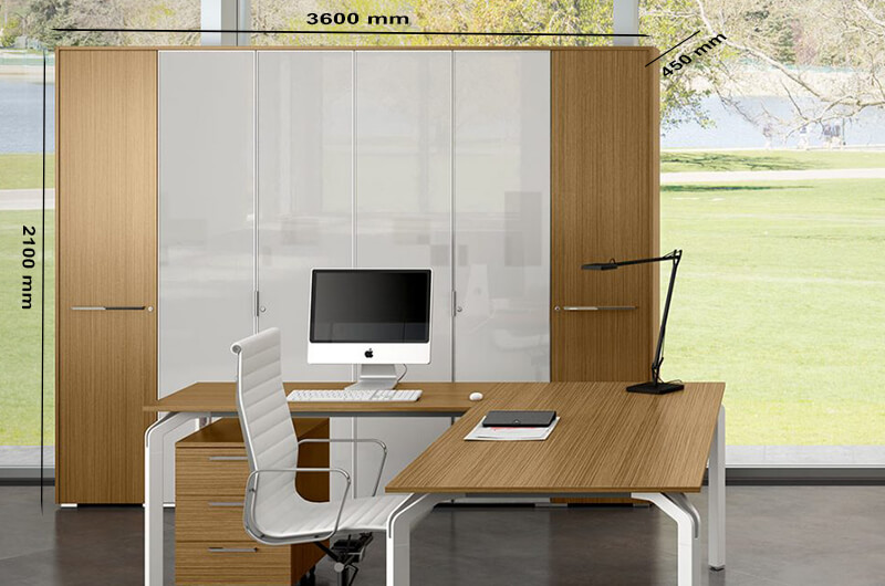 Size Hansol – High Level Cupboard With Aluminium Framed Glass Doors