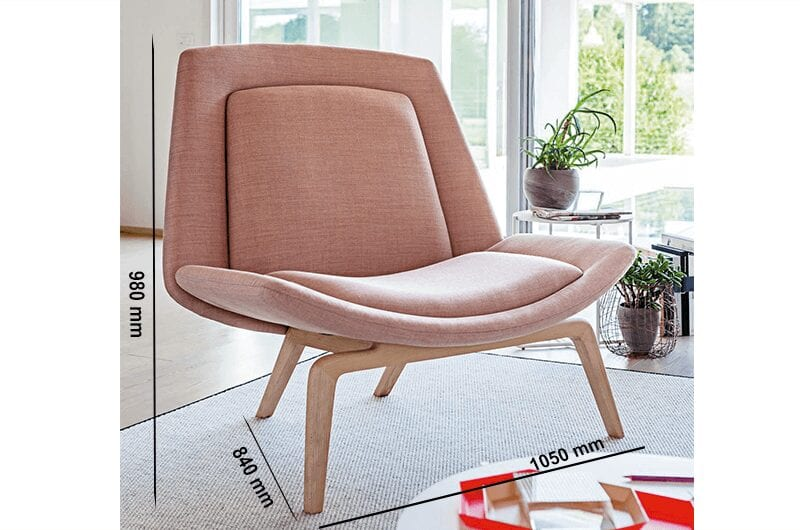 Betty – Single Seat Chair with Natural Wood Finish Legs