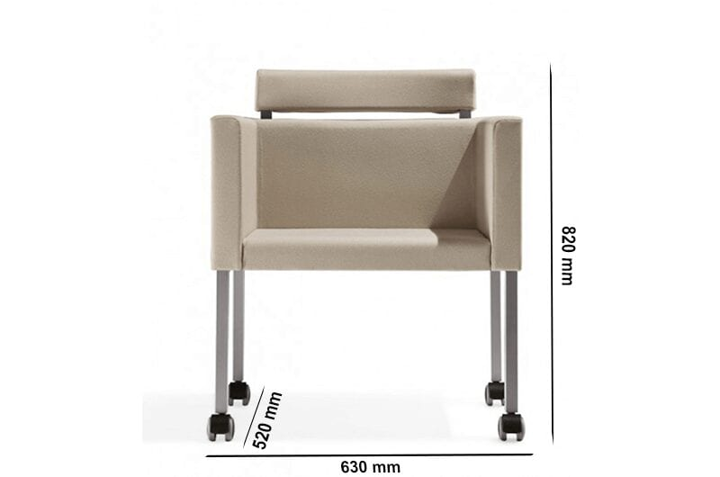 Dapper - Straight Armchair with Headrest with Aluminium Legs