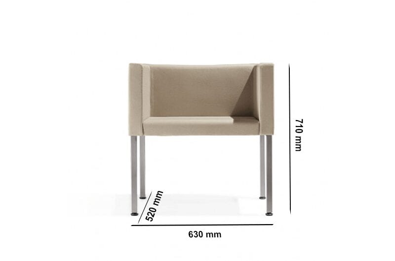 Dapper – Straight Armchair without Headrest with Aluminium Legs