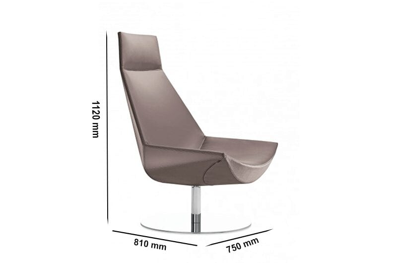 Duo - High Back Leather Chair with Headrest and Stainless-Steel Base
