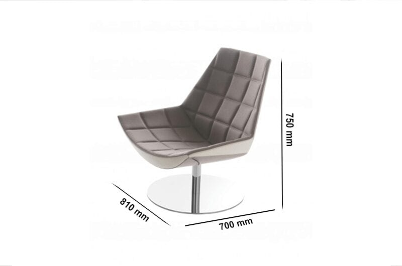Duo - Squared Stitching Chair with Round Stainless-Steel Base