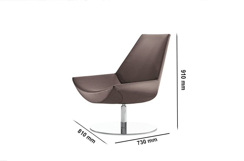 Duo - High Back Leather Chair with Stainless-Steel Base