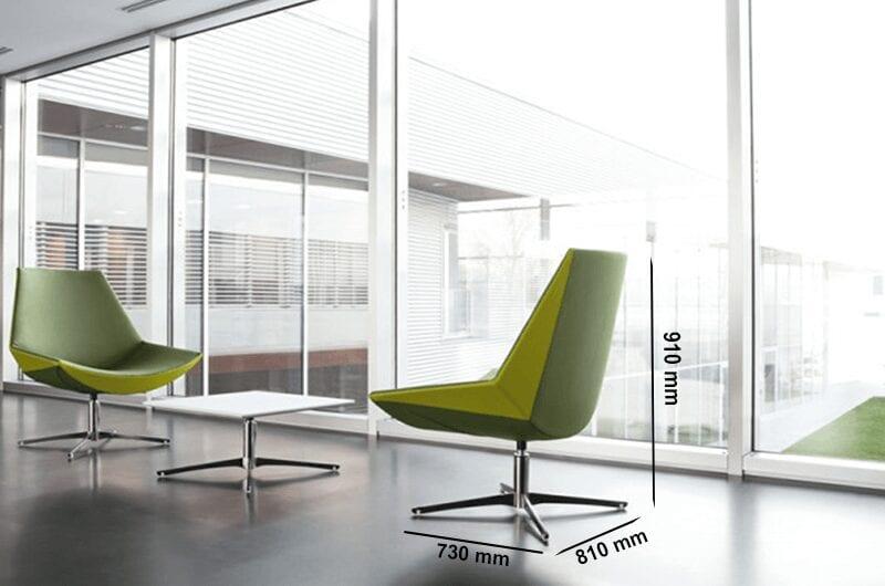 Duo – Medium Back Armchair with Four-Star Metal Legs