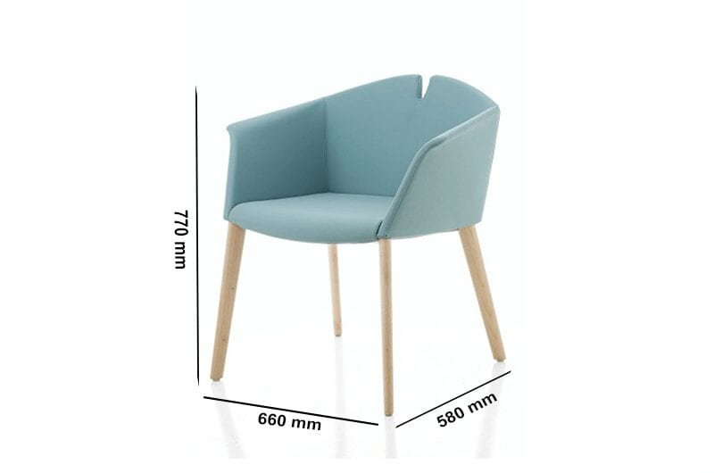 Jett – Winged Armchair in Multicolour with Wood Finish Legs