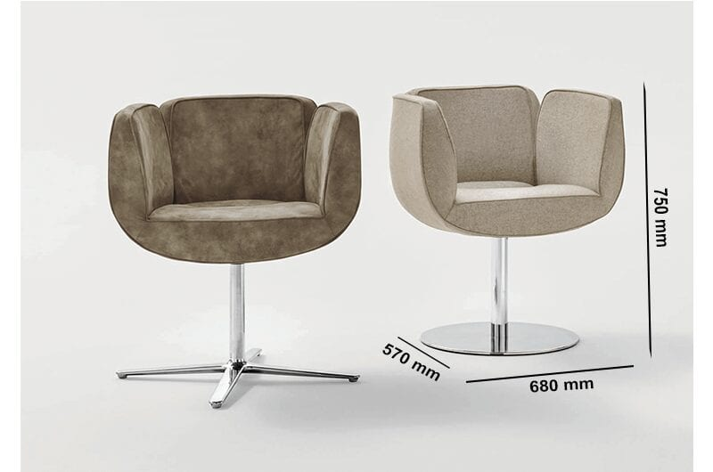 Newton – Tub Armchair with Round Stainless-Steel Base