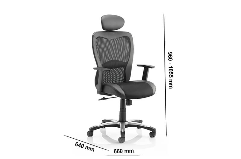 Size Lucius – Mesh And Leather Black Executive Chair With Headrest