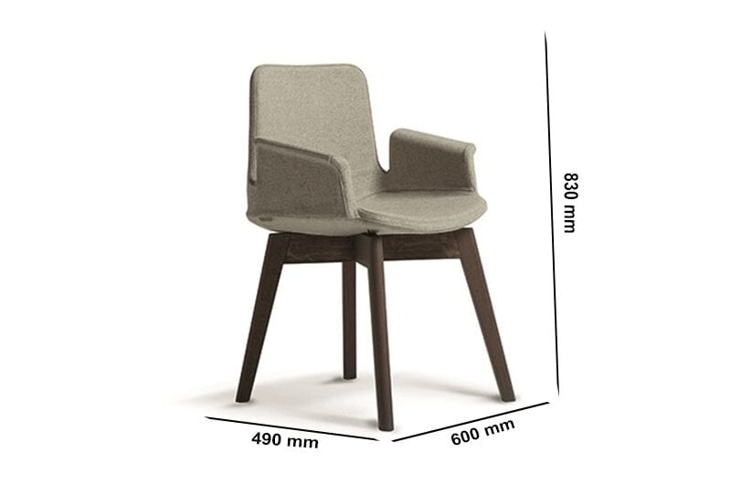 Juliet – Winged Armchair with Natural Wood Base
