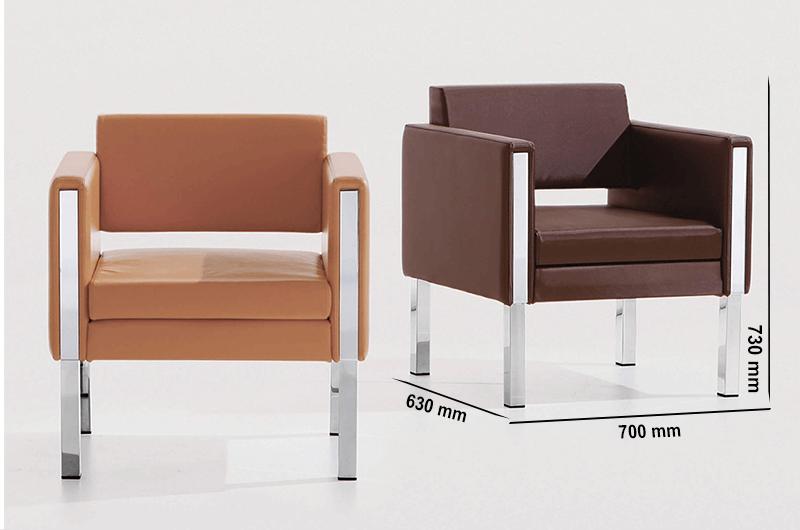 Size Mars – Single Seater Armchair With Chrome Frame