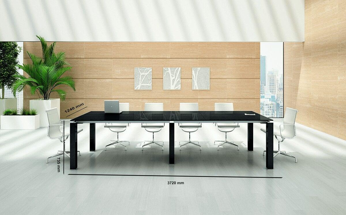 Lustro – Black Glass Top Boardroom Table