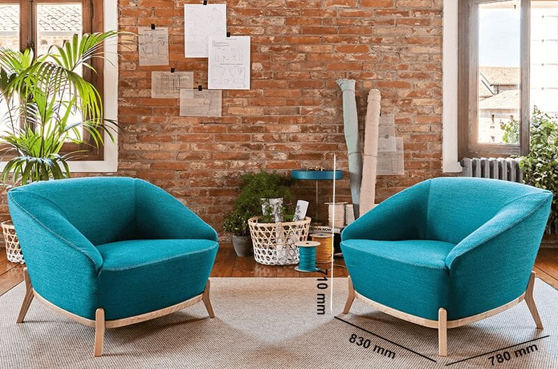 Santos – Medium Back Armchair with Natural Wooden Legs