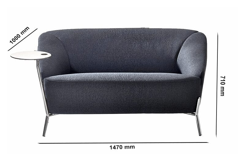 Santos – Multicolour Two-Seater Sofa with Attached Table