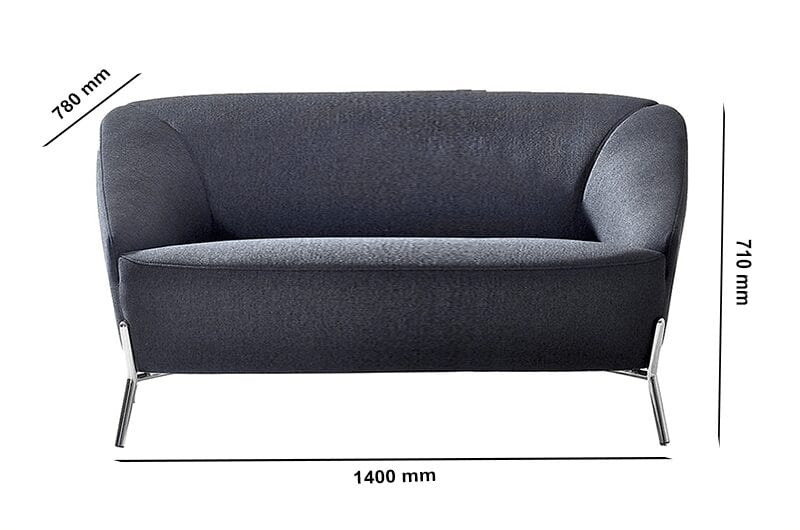 Santos – Two-Seater Sofa in Multicolour with Chrome Legs