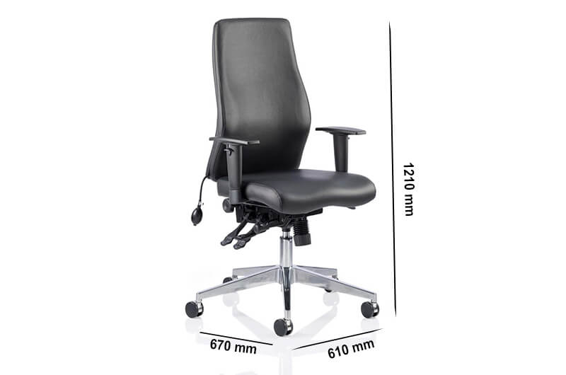 Size Nyra – Curved Bonded Leather Executive Chair
