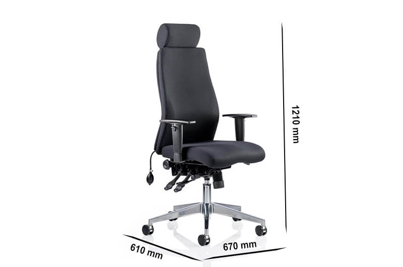 Size Nyra – Curved Fabric Executive Chair With Headrest