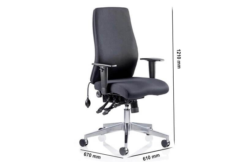 Size Onyx Ergo Posture Chair Black Fabric