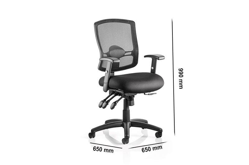 Oregon 3 – Black Operator Office Chair with Mesh Back