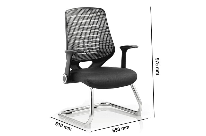 Halo – Black Silver Leather Cantilever Visitor Chair