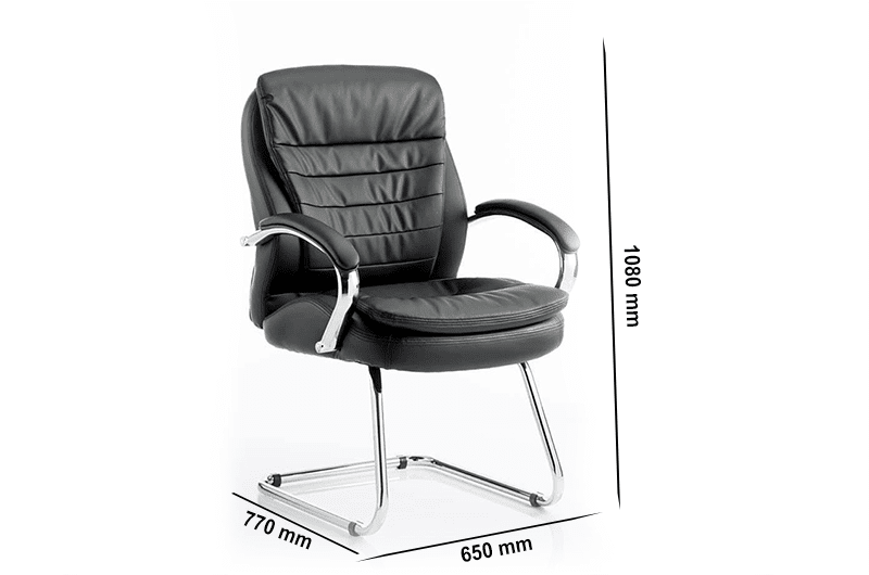 Edison – Black Leather Cantilever Executive Visitor Chair