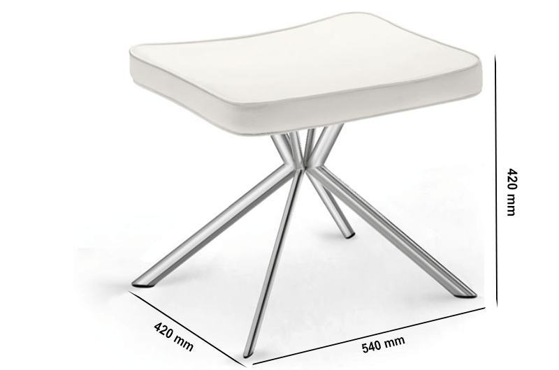 Size Rome – Leather Stool With Chrome Legs