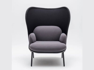 Windsor – Fabric Metal Armchair With Shield And Metal Frame