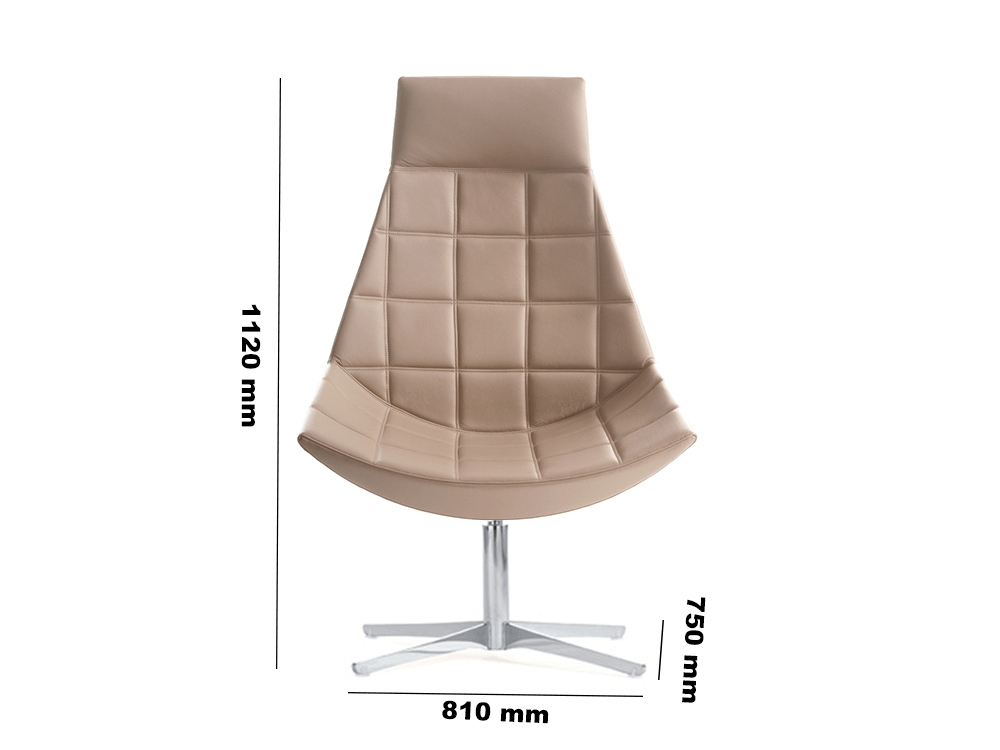 High Back 4 Star Squared Stitching Dimensions