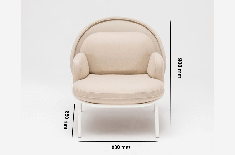Size Windsor – Fabric Metal Armchair With Shield And Metal Frame