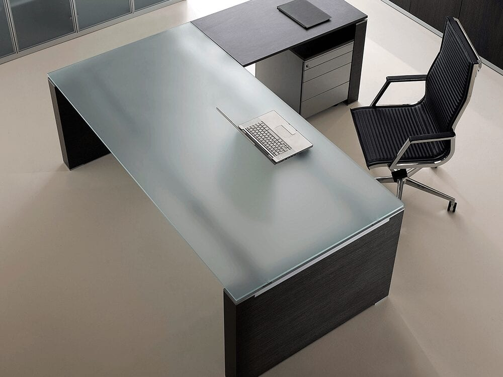 Velocity - Glass Executive Desk with Wood Finish Legs