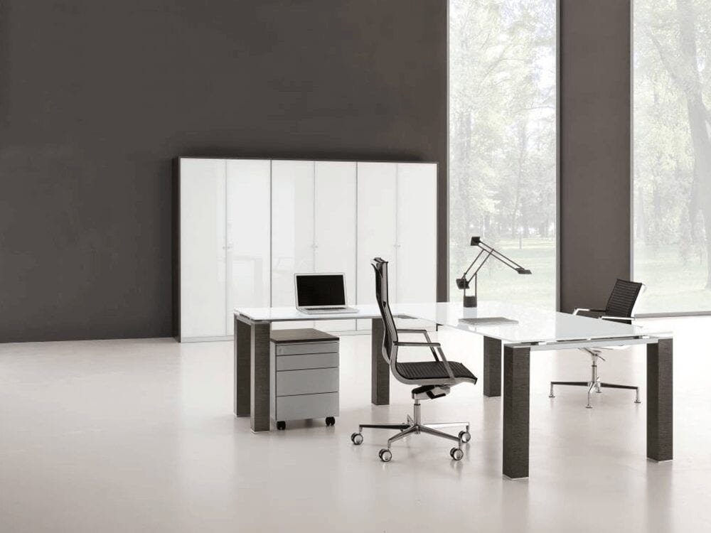 Vetroso - Glass Executive Desk with Sturdy U Goalpost Legs