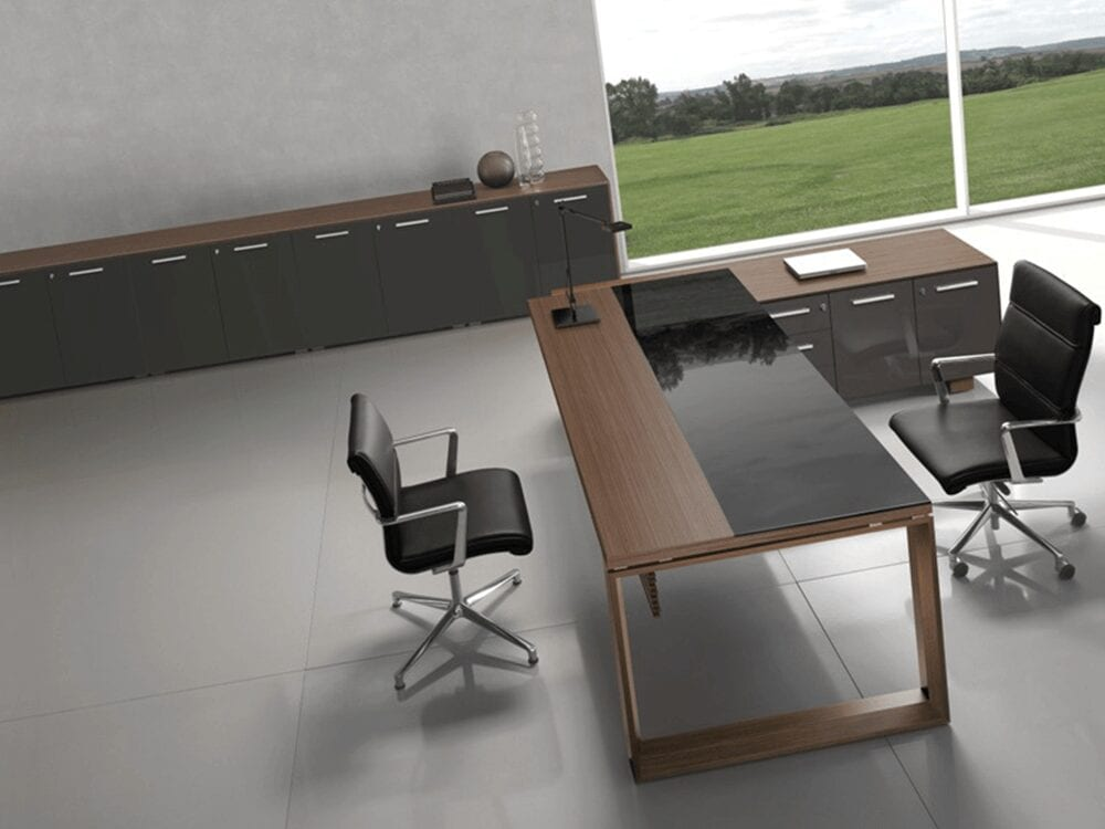 Ryder – Glass and Wood Executive Desk for Hooking to the Storage Unit