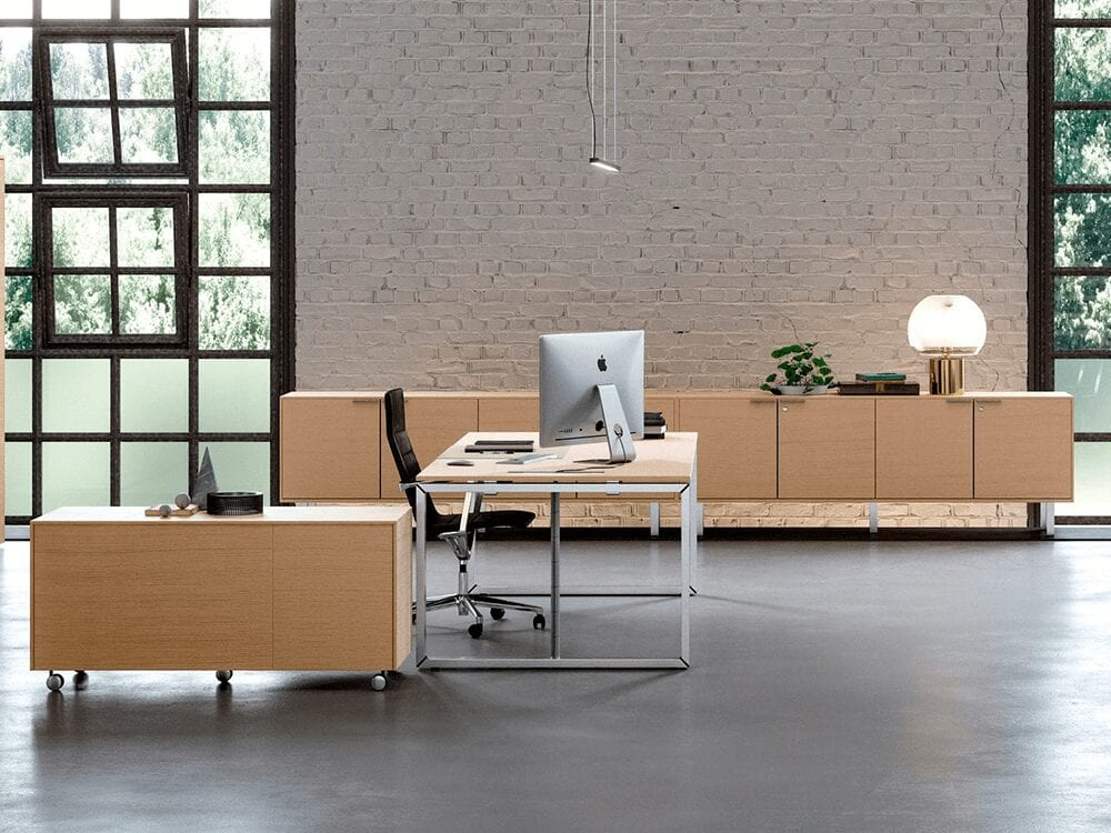 Continuo - Modern Square Leg Executive Desk in White, Grey or Wood Finish with Square Legs