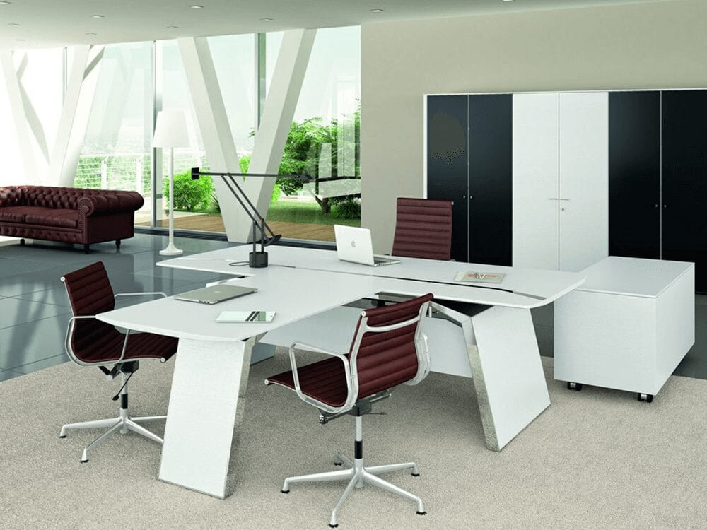 Futura 2 - Modern White, Black, Wood Veneer or Oak Executive Desk