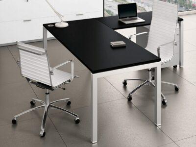 Elegante - Executive Corner Desk with Goalpost U Leg and Angular Melamine Top