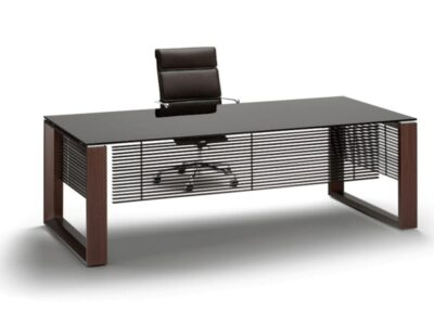Ryder – Tempered Glass Executive Desk with Assembled Panel for Leg