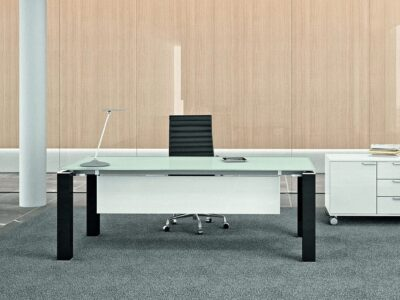Elegante – Black or White Elegant Toughened Glass Top Executive Desk