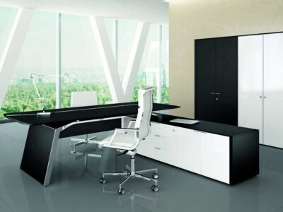Futura – Modern White, Black, Wood Veneer or Oak Executive Desk with Solid Panel Legs