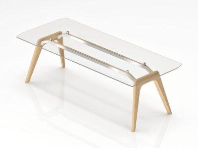 Akira -  Modern Transparent Glass Top Executive Desk with White, Black or Tobacco Oak Legs