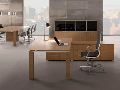 Legnosa - Natural Oak or Walnut Finish Wooden Executive Desk with Goalpost U Leg