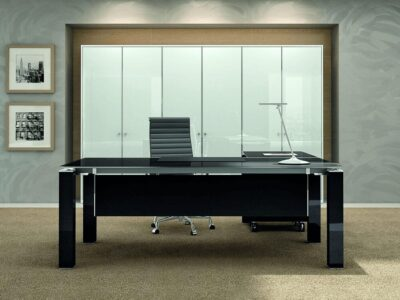 Elegante – Black or White Elegant Toughened Glass Top Executive Desk