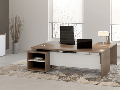Alfonso – Wood Finish Panelled Legs Executive Desk1