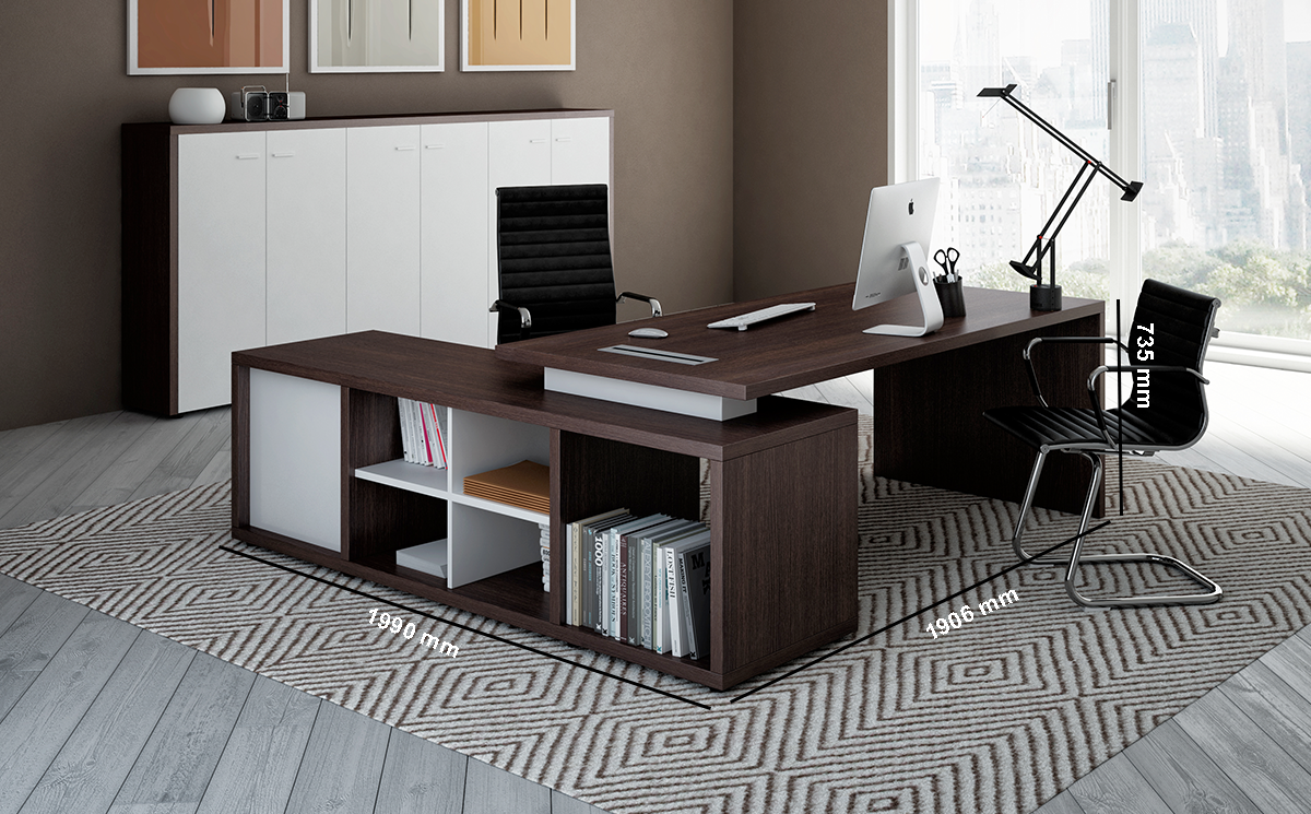Alfonso 1 Wood Finish Panelled Legs Executive Desk With Credenza Dimension Image