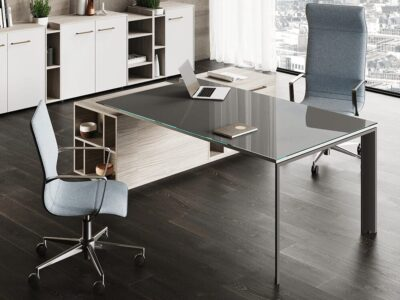 Viviana - Glass Executive Desk with Slim Legs