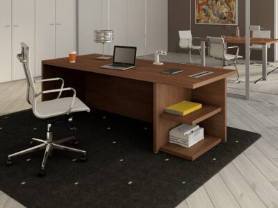 Alfonso 1 - Woodside Panelled Legs Modular Executive Desk with Open Shelves