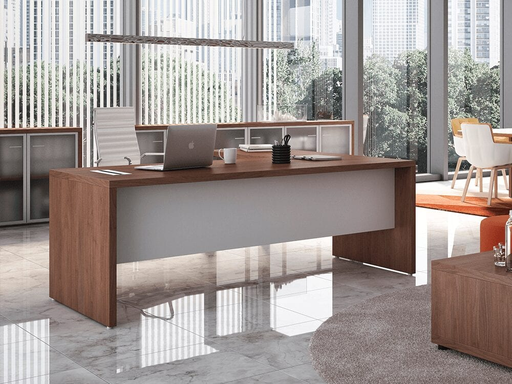 Alfonso - Woodside Panelled Legs Executive Desk with Modesty Panel